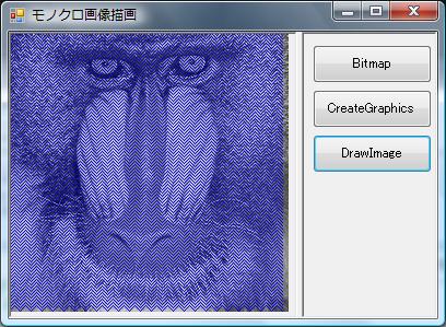 【C++/CLI】モノクロ画像の上に線などを描画