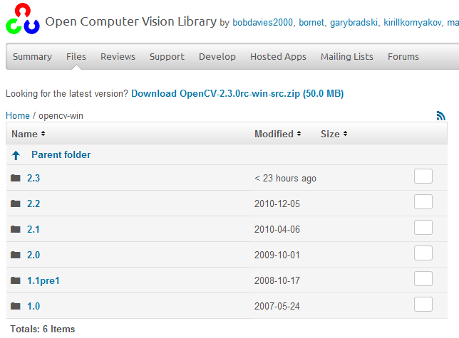 OpenCV2.2他のダウンロード