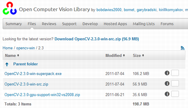 OpenCV2.3の入手、ダウンロード、インストール、環境設定