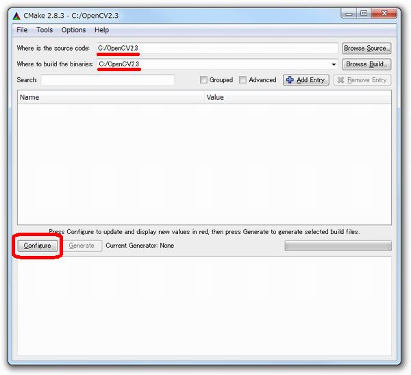 OpenCV2.3のインストール方法