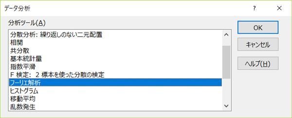 Excel フーリエ変換 FFT