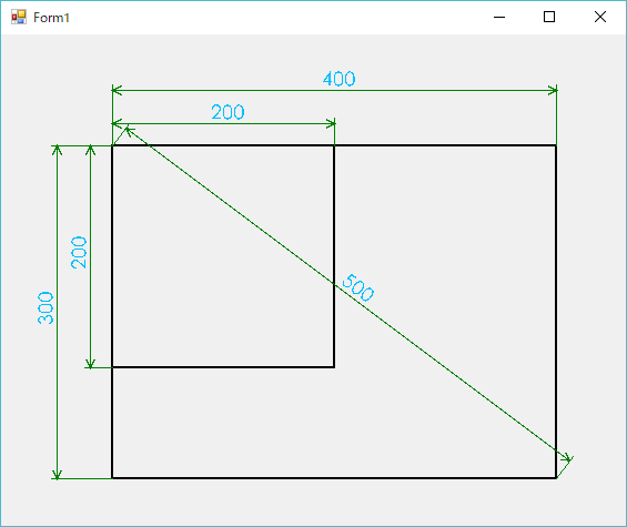 C# 寸法線の描画