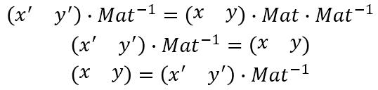 アフィン変換の相互座標変換