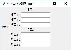 Python tkinter ウィジェットの配置 grid